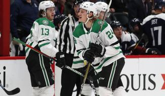 Dallas Stars left wing Roope Hintz celebrates his shorthanded goal against the Colorado Avalanche during the second period of an NHL hockey game Friday, Nov. 1, 2019, in Denver. (AP Photo/David Zalubowski)