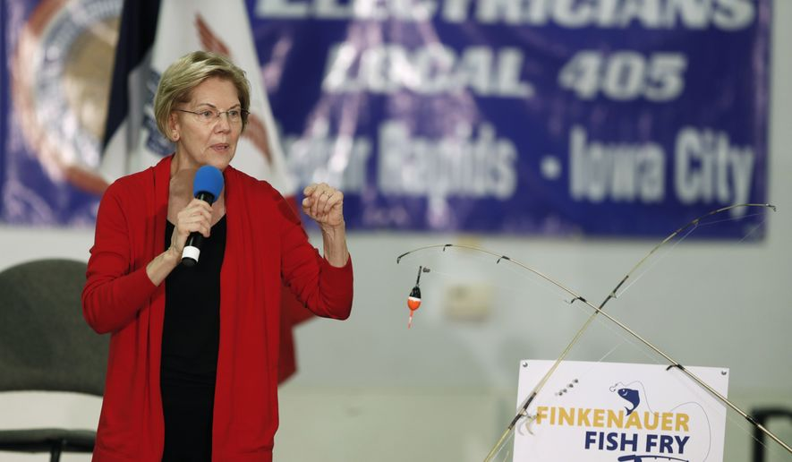 Democratic presidential candidate Sen. Elizabeth Warren speaks during a fund-raising fish fry for U.S. Rep. Abby Finkenauer, D-Iowa, Saturday, Nov. 2, 2019, at Hawkeye Downs Expo Center in Cedar Rapids, Iowa. (AP Photo/Charlie Neibergall)