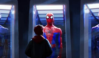"""This image released by Sony Pictures Animations shows a scene from """"Spider-Man: Into the Spider-Verse."""" Sony Pictures on Friday set a follow-up to the 2018 Oscar-winning hit for release in April 2022. (Sony Pictures Animation via AP)"""