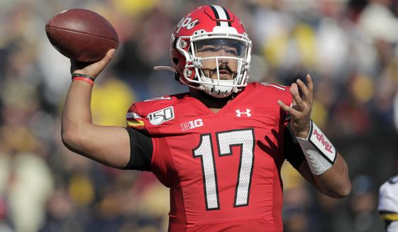 Maryland quarterback Josh Jackson throws a pass against Michigan during the second half of an NCAA college football game, Saturday, Nov. 2, 2019, in College Park, Md. Michigan won 38-7. (AP Photo/Julio Cortez) ** FILE **