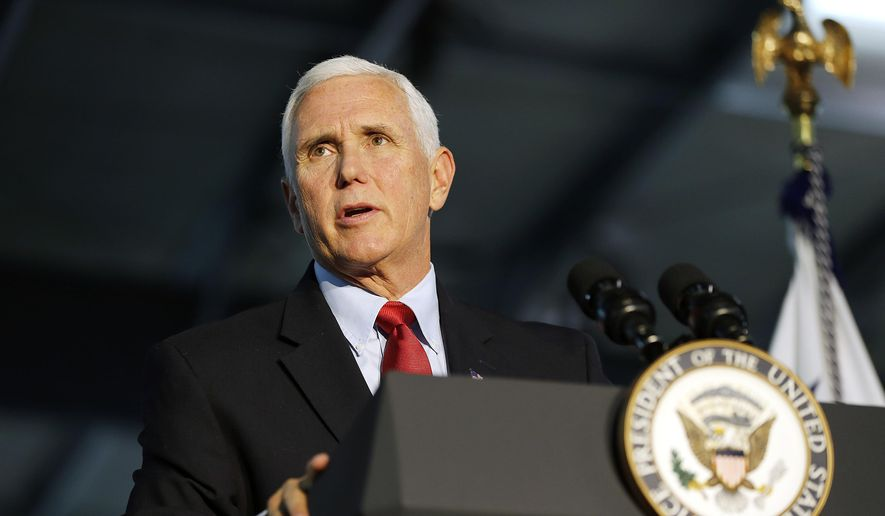 Vice President Mike Pence speaks about the U.S.-Mexico-Canada Agreement as part of an America First Policies series at Patriot Industries in Louisa, Va., on Saturday, Nov. 2, 2019.(Mark Gormus/Richmond Times-Dispatch via AP)