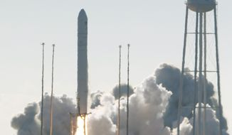 Northrop Grumman's Antares rocket lift off the launch pad at NASA Wallops Flight facility in Wallops Island, Va., Saturday, Nov. 2, 2019. The rocket is carrying a Cygnus spacecraft carrying supplies to the International Space Station. (AP Photo/Steve Helber)