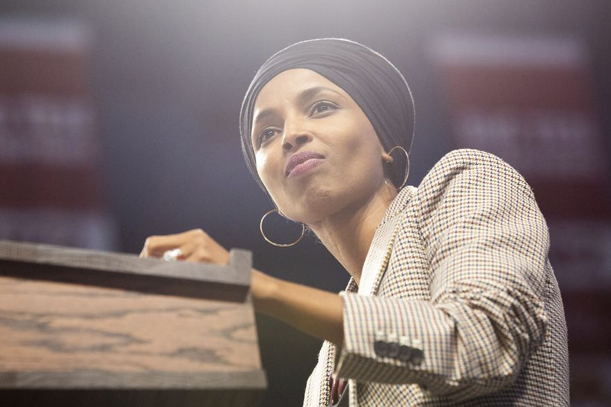 In this file photo, Rep. Ilhan Omar introduces Sen. Bernie Sanders during a rally inside of Williams Arena in Minneapolis on Sunday, Nov. 3, 2019. (Evan Frost/Minnesota Public Radio via AP)  **FILE**