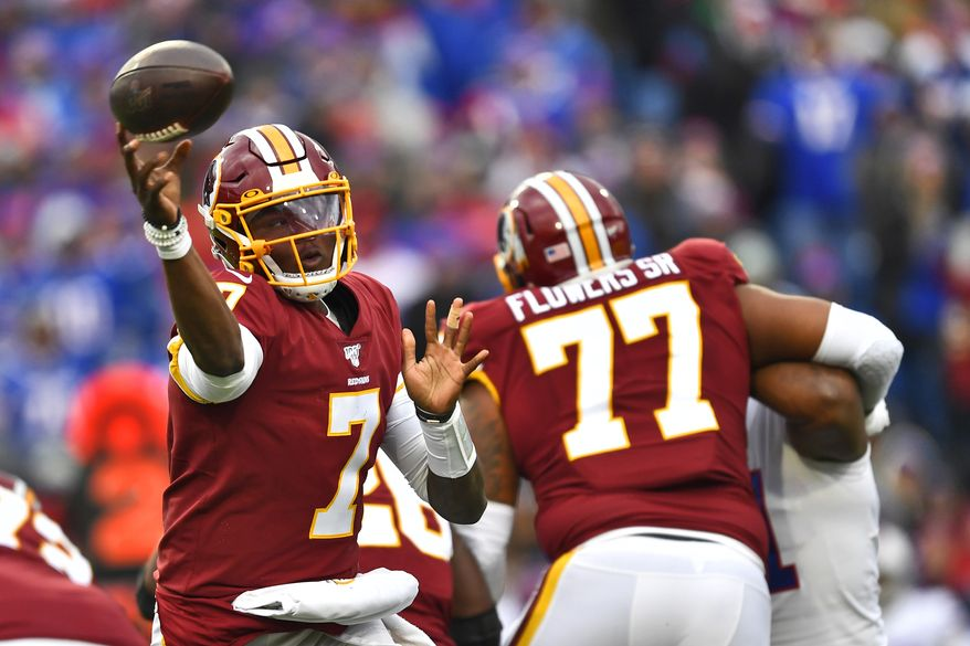 Washington Redskins quarterback Dwayne Haskins (7) passes during the second half of an NFL football game against the Buffalo Bills, Sunday, Nov. 3, 2019, in Orchard Park, N.Y. (AP Photo/Adrian Kraus)