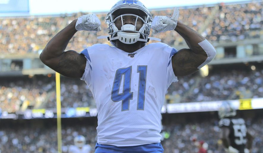 Detroit Lions running back J.D. McKissic (41) celebrates after scoring against the Oakland Raiders during the second half of an NFL football game in Oakland, Calif., Sunday, Nov. 3, 2019. (AP Photo/John Hefti) ** FILE **