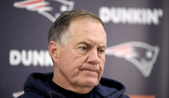 New England Patriots' Bill Belichick talks to reporters after an NFL football game against the Baltimore Ravens, Sunday, Nov. 3, 2019, in Baltimore. The Ravens won 37-20. (AP Photo/Nick Wass)