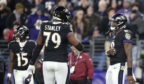 Baltimore Ravens quarterback Lamar Jackson (8) celebrates his touchdown run against the New England Patriots with offensive tackle Ronnie Stanley (79) during the first half of an NFL football game, Sunday, Nov. 3, 2019, in Baltimore. (AP Photo/Gail Burton)