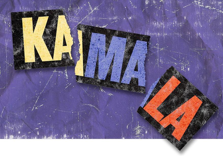 Kamala Sticker Illustration by Greg Groesch/The Washington Times