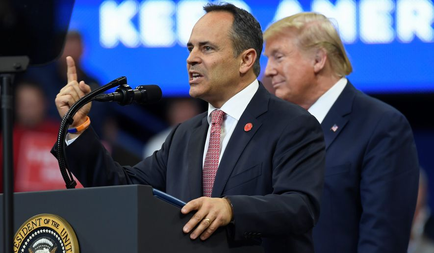 """""""Tomorrow, Kentucky has a chance to send the radical Democrats a message,"""" President Trump said at a rally in Lexington, Kentucky. """"You will vote to reject the Democrats, extremism, socialism and corruption and you will vote to reelect Kentucky Gov. Matt Bevin."""" (ASSOCIATED PRESS)"""