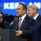 """Tomorrow, Kentucky has a chance to send the radical Democrats a message,"" President Trump said at a rally in Lexington, Kentucky. ""You will vote to reject the Democrats, extremism, socialism and corruption and you will vote to reelect Kentucky Gov. Matt Bevin."" (ASSOCIATED PRESS)"