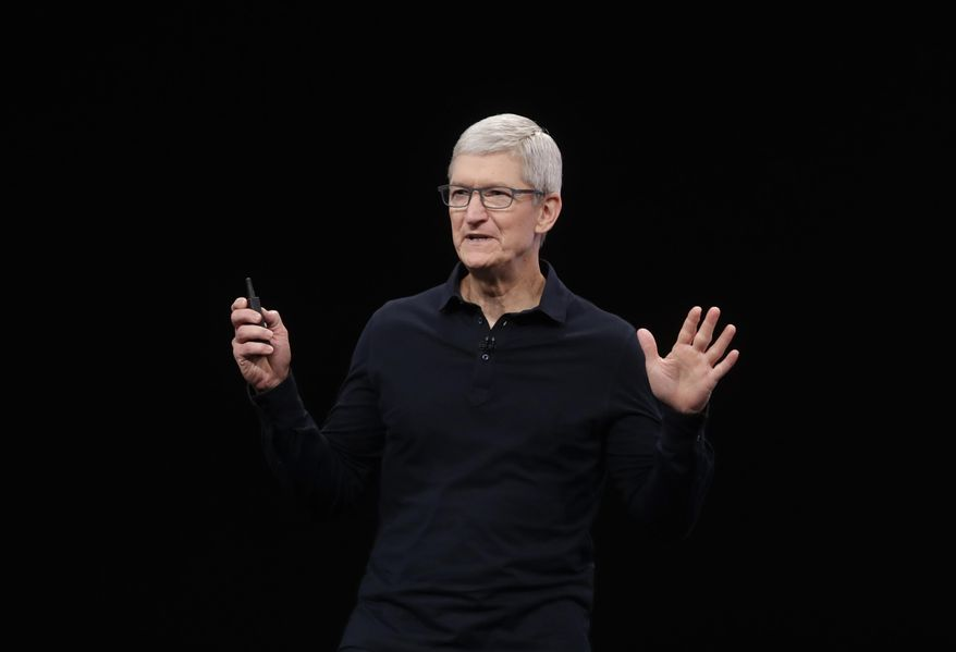FILE - In this June 3, 2019, file photo Apple CEO Tim Cook speaks at the Apple Worldwide Developers Conference in San Jose, Calif. Apple said Monday, Nov. 4, that it's committing $2.5 billion to combat California's housing crisis. (AP Photo/Jeff Chiu, File)