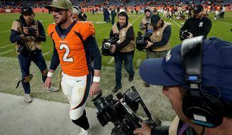 Denver Broncos quarterback Brandon Allen (2) leaves the field after an NFL football game against the Cleveland Browns, Sunday, Nov. 3, 2019, in Denver. The Broncos won 24-19. (AP Photo/Jack Dempsey)