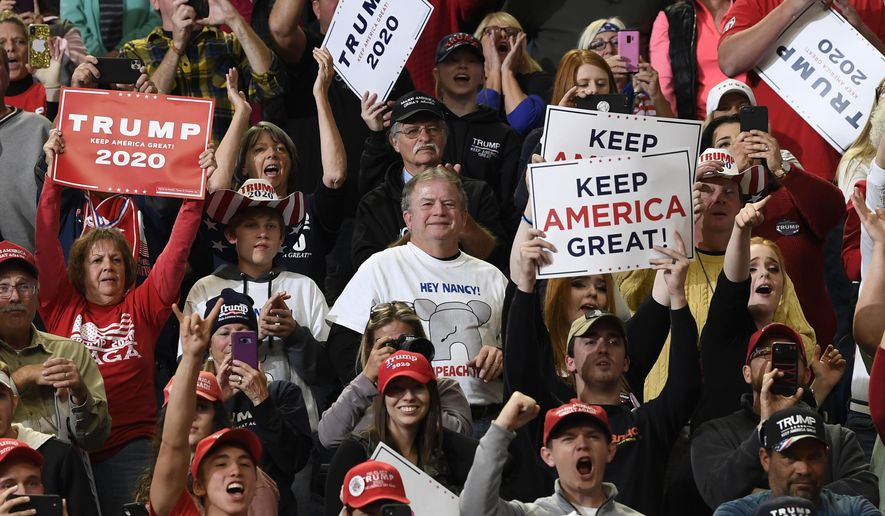 People in the crowd react as President Donald Trump speaks at a campaign rally in, Lexington, Ky., Monday, Nov. 4, 2019. (AP Photo/Susan Walsh)