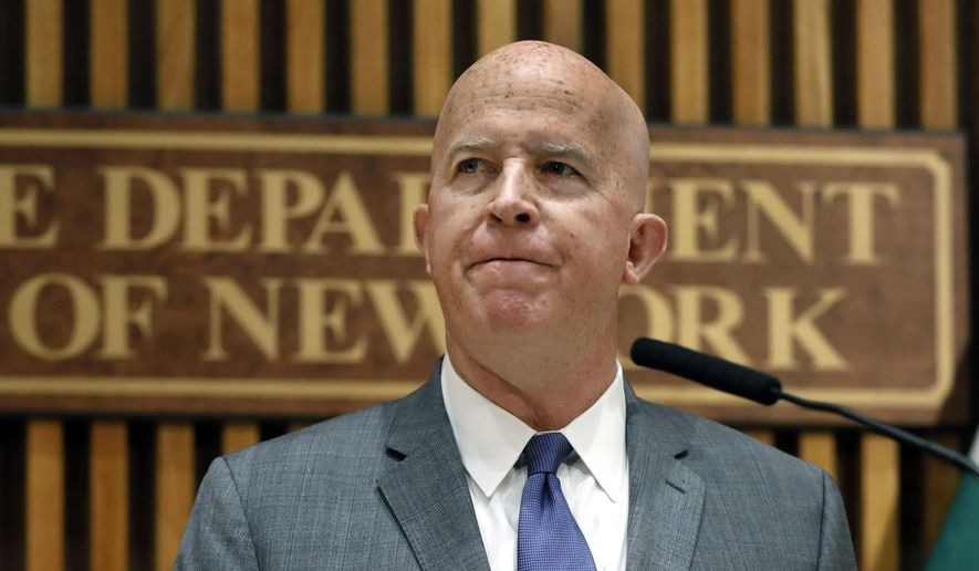 In this Aug. 19, 2019, file photo New York Police Commissioner James P. O'Neill makes an announcement at police headquarters. (AP Photo/Richard Drew, File)