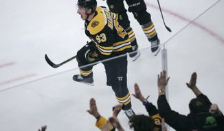 Boston Bruins center Brad Marchand celebrates after his winning goal off Pittsburgh Penguins goaltender Tristan Jarry during the third period of an NHL hockey game in Boston, Monday, Nov. 4, 2019. (AP Photo/Charles Krupa)