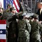 President Trump has high approval ratings among military veterans. Among Republican veterans, that approval rating is 92%. (Associated Press)
