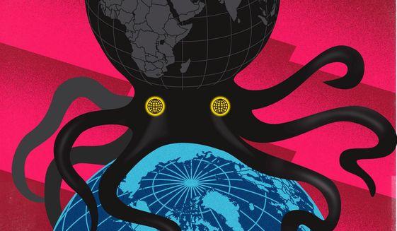 Illustration on tyranny around the globe by Linas Garsys/The Washington Times