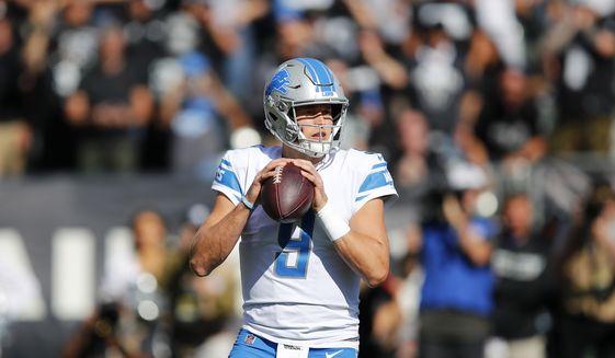 Detroit Lions quarterback Matthew Stafford (9) against the Oakland Raiders during an NFL football game in Oakland, Calif., Sunday, Nov. 3, 2019. (AP Photo/John Hefti)