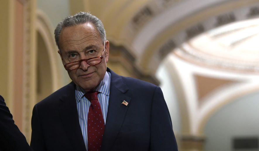 Senate Minority Leader Chuck Schumer, New York Democrat. steps away from a news conference on Capitol Hill in Washington, Tuesday, Nov. 5, 2019. (AP Photo/Susan Walsh) ** FILE **