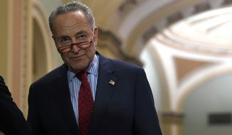 Senate Minority Leader Sen. Chuck Schumer of N.Y., steps away from a news conference on Capitol Hill in Washington, Tuesday, Nov. 5, 2019. (AP Photo/Susan Walsh)