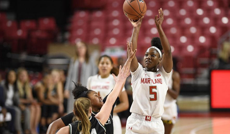 Maryland guard Kaila Charles (5) shoots as Wagner forward Emilija Krista Grava (24) defends during the second half of an NCAA college basketball game, Tuesday, Nov. 5, 2019, in College Park, Md. Maryland won 119-56. (AP Photo/Nick Wass)