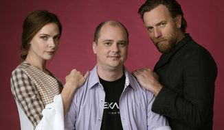 "This Oct. 28, 2019 photo shows writer-director Mike Flanagan, center, and actors Rebecca Ferguson, left, and Ewan McGregor posing for a portrait to promote the film, ""Doctor Sleep,"" at The London West Hollywood hotel in West Hollywood, Calif. (Photo by Chris Pizzello/Invision/AP)"