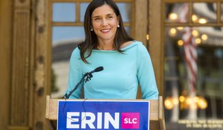 In this Wednesday, Aug. 14, 2019, photo, Salt Lake City mayoral candidate Erin Mendenhall talks about the next stage of her campaign after finishing with the most votes in the partial results from the primary election held a day earlier, in Salt Lake City. Democrats Luz Escamilla and Erin Mendenhall face off in the Nov. 5 election. (Rick Egan/The Salt Lake Tribune via AP)