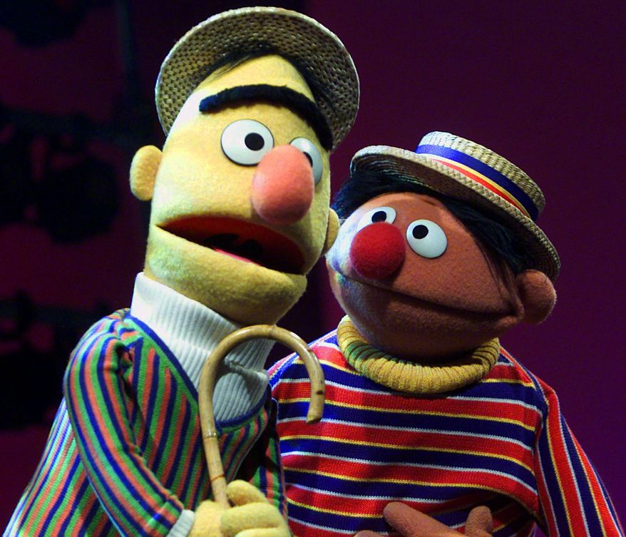 """Muppets Bert, left, and Ernie, from """"Sesame Street"""" are shown in New York, Aug. 22, 2001. (AP Photo/Beth A. Keiser)  ** FILE **"""