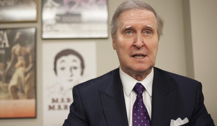 """Former Secretary of Defense William Cohen speaks prior to the lecture at the Collins Center in Bangor, Maine, Tuesday, Nov. 5, 2019. Cohen, who served on the House Judiciary Committee that investigated President Richard Nixon, said Tuesday that he believes President Donald Trump committed """"an impeachable act."""" (Natalie Williams/The Bangor Daily News via AP)"""