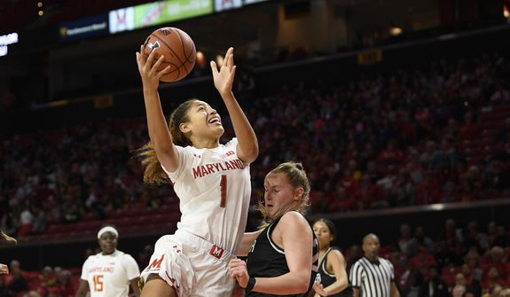 Maryland forward Shakira Austin (1) goes to the basket next to Wagner forward Emilija Krista Grava (24) during the first half of an NCAA college basketball game, Tuesday, Nov. 5, 2019, in College Park, Md. Grava was called for a foul on the play. (AP Photo/Nick Wass) **FILE**