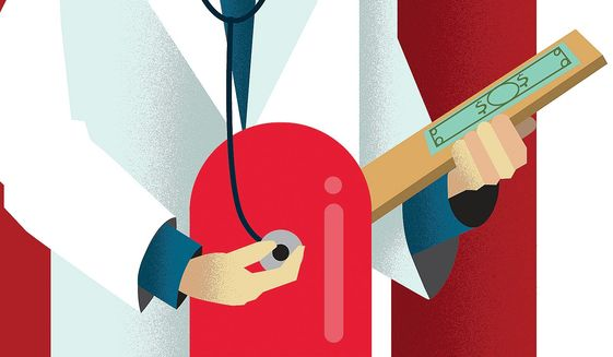 Illustration on reducing prescription drug prices by Linas Garsys/The Washington Times