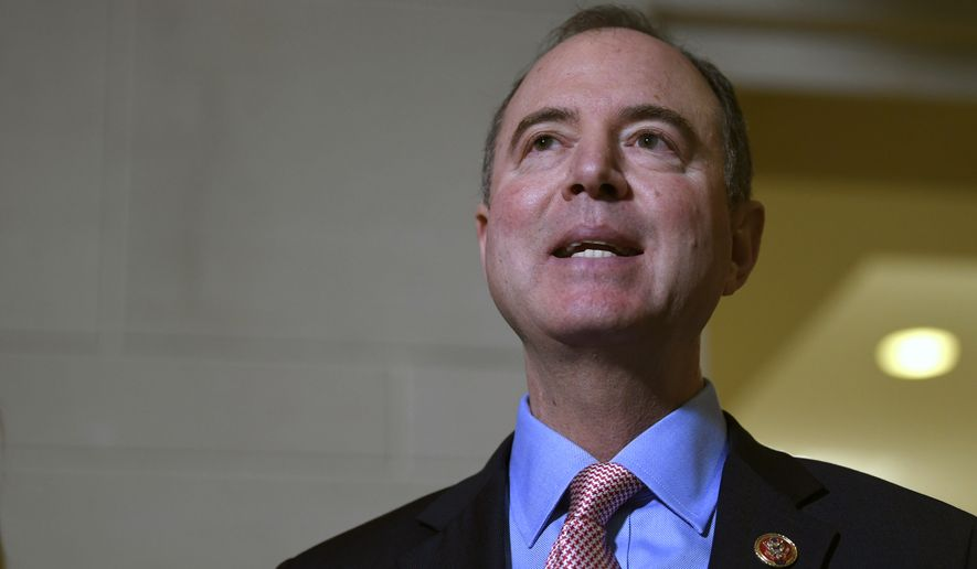 House Intelligence Committee Chairman Adam Schiff, D-Calif., talks with reporters on Capitol Hill in Washington, Wednesday, Nov. 6, 2019, about the House impeachment inquiry. (AP Photo/Susan Walsh)