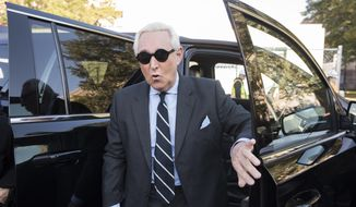 Roger Stone arrives at Federal Court for the second day of jury selection for his federal trial, in Washington, Wednesday, Nov. 6, 2019. Stone, a longtime Republican provocateur and former confidant of President Donald Trump, goes on trial over charges related to his alleged efforts to exploit the Russian-hacked Hillary Clinton emails for political gain. (AP Photo/Cliff Owen)