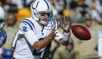 Indianapolis Colts quarterback Brian Hoyer (2) takes a snap against the Pittsburgh Steelers after Jacoby Brissett was injured in the first half of an NFL football game, Sunday, Nov. 3, 2019, in Pittsburgh. (AP Photo/Gene J. Puskar)