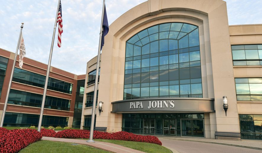 FILE - This July 17, 2018, file photo, shows the corporate headquarters of Papa John's Pizza, located on their corporate campus, in Louisville, Ky. Papa John's reports financial results Wednesday, Nov. 6. (AP Photo/Timothy D. Easley, File)