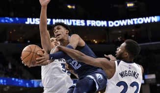 Memphis Grizzlies guard Ja Morant (12) shoots between Minnesota Timberwolves guard Andrew Wiggins (22) and center Karl-Anthony Towns (32) in the second half of an NBA basketball game Wednesday, Nov. 6, 2019, in Memphis, Tenn. (AP Photo/Brandon Dill)