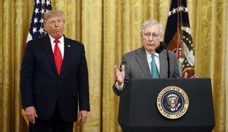 President Donald Trump listens as Senate Majority Leader Mitch McConnell of Ky., speaks in the East Room of the White House during an event about Trump's judicial appointments, Wednesday, Nov. 6, 2019, in Washington. (AP Photo/Patrick Semansky)
