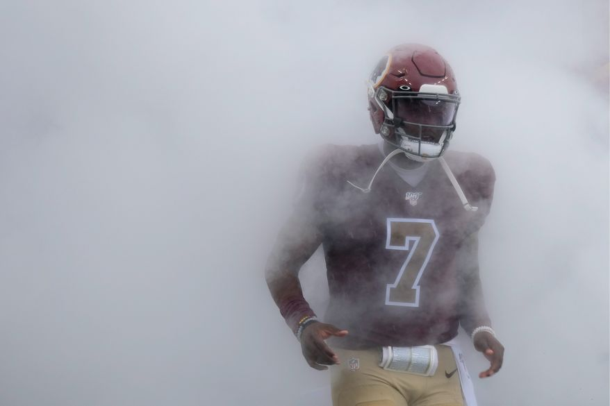 Washington Redskins quarterback Dwayne Haskins runs onto the field before an NFL football game against the San Francisco 49ers, Sunday, Oct. 20, 2019, in Landover, Md. (AP Photo/Mark Tenally) **FILE**
