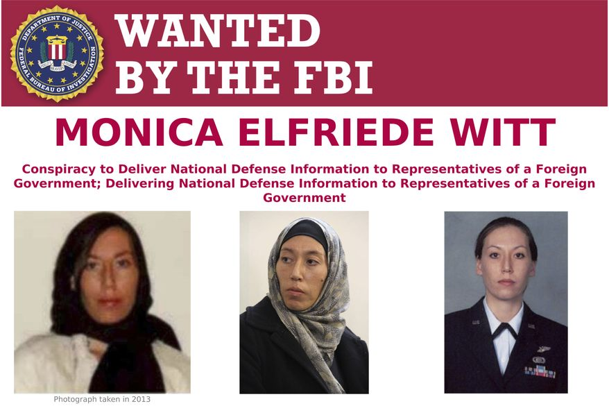 This image provided by the FBI shows part of the wanted poster for Monica Elfriede Witt. The former U.S. Air Force counterintelligence specialist who defected to Iran despite warnings from the FBI has been charged with revealing classified information to the Tehran government, including the code name and secret mission of a Pentagon program, prosecutors said Wednesday, Feb. 13, 2019. (FBI via AP)
