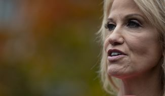 White House counselor Kellyanne Conway talks with reporters outside the White House, Thursday, Nov. 7, 2019, in Washington. (AP Photo/ Evan Vucci)