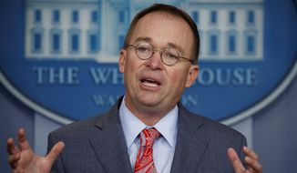 Acting White House Chief of Staff Mick Mulvaney speaks in the White House briefing room on Thursday, Oct. 17, 2019, in Washington. (AP Photo/Evan Vucci, File)