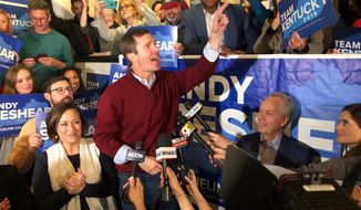 Democrat Andy Beshear speaks to supporters after a daylong tour of Kentucky on the last night of the campaign for governor, in Louisville, Ky., Monday, Nov. 4, 2019. Beshear traveled the state as his opponent, Republican Gov. Matt Bevin, welcomed President Donald Trump for a rally Monday night in Lexington. Voters go to the polls Tuesday. (AP Photo/Dylan Lovan)