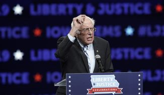 Democratic presidential candidate Sen. Bernie Sanders speaks during the Iowa Democratic Party's Liberty and Justice Celebration, Friday, Nov. 1, 2019, in Des Moines, Iowa. (AP Photo/Nati Harnik)