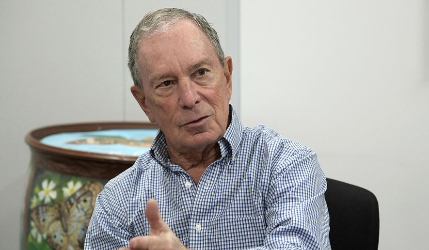 In this Feb. 8, 2019, file photo, former New York City Mayor Michael Bloomberg answers a question during an interview with The Associated Press in Orlando, Fla. (AP Photo/Phelan M. Ebenhack, File)