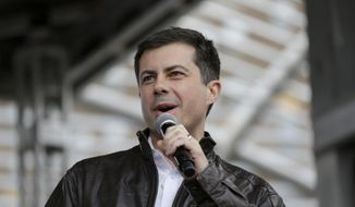 Democratic presidential candidate and South Bend Mayor Pete Buttigieg addresses supporters during a rally before participating in the Democratic Party's Liberty and Justice Celebration event in Des Moines, Iowa, Friday, Nov. 1, 2019. (AP Photo/Nati Harnik)