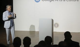 Luis Miranda, father of Lin-Manuel Miranda, announces a partnership with Google Arts & Culture to digitize more than 350 artworks, in San Juan Puerto Rico, Thursday, Nov. 7, 2019. (AP Photo/Danica Coto)