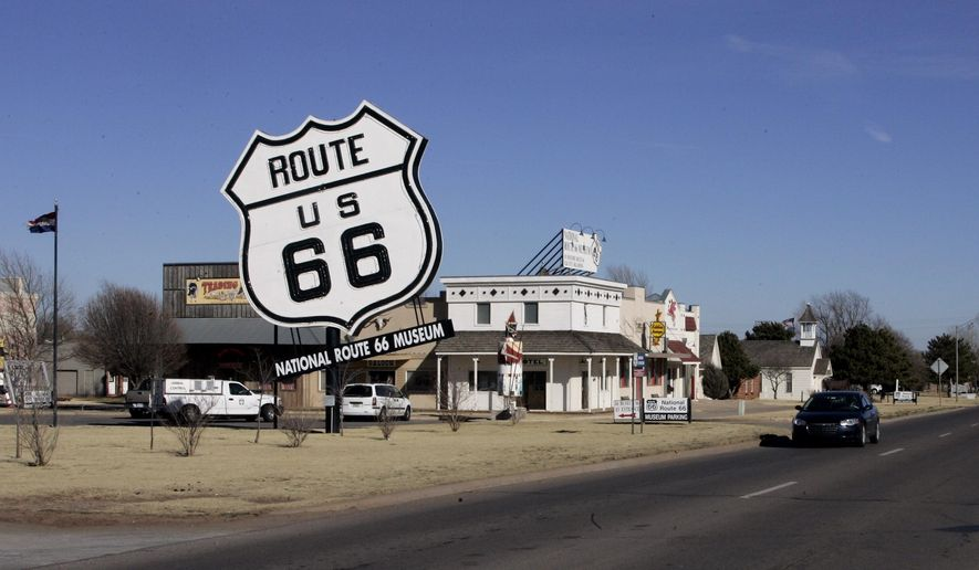 In this Jan. 31, 2006 file photo, the Route 66 Museum still dwarfs the landscape in Elk City, Okla. Republican Sen. Nathan Dahm said Wednesday, Nov. 6, 2019 that he is done trying to rename a portion of the iconic Route 66 highway in northeastern Oklahoma after President Donald Trump. (AP Photo, File)