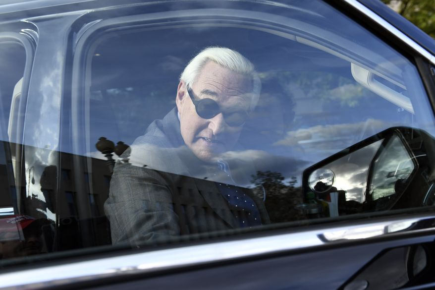 Roger Stone leaves federal court in Washington, Friday, Nov. 8, 2019. after his trial ended for the day. (AP Photo/Susan Walsh)