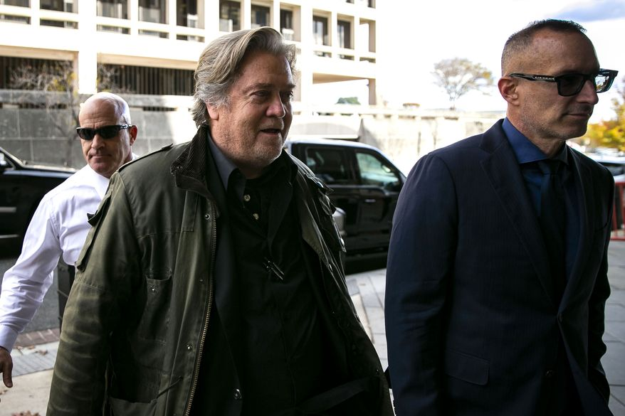 Former White House strategist Steve Bannon arrives to testify for the federal trial of Roger Stone, at federal court in Washington, Friday, Nov. 8, 2019. (AP Photo/Al Drago)