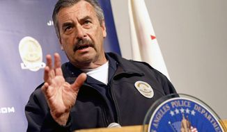 FILE - In this Feb. 6, 2017 file photo, Los Angeles Police Chief Charlie Beck speaks at a news conference in Los Angeles. Chicago's mayor on Friday, Nov. 8, 2019 named Beck to serve as Chicago's interim police superintendent, a day after the city's top police officer announced he's retiring. (AP Photo/Nick Ut, File)